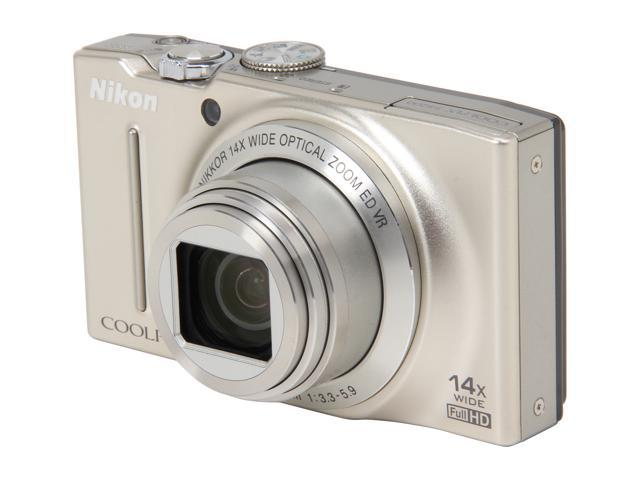 Nikon COOLPIX S8200 Silver 16.1 MP 14X Optical Zoom 25mm Wide Angle Digital Camera