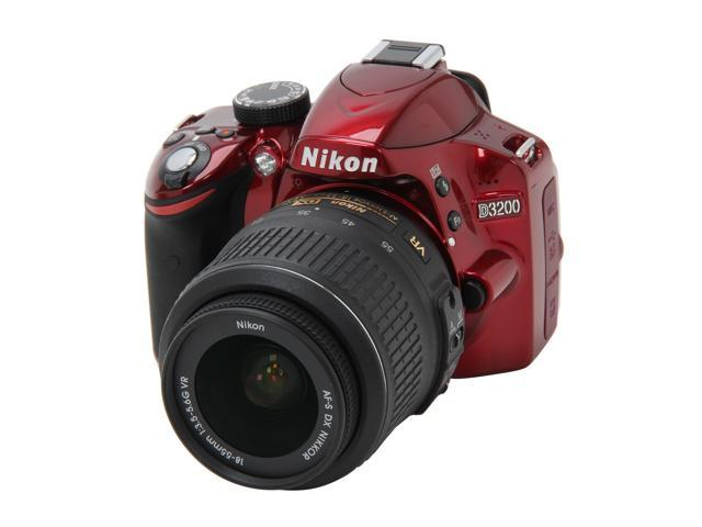 Nikon D3200 25496 Red 24.2 MP Digital SLR with 18-55mm f/3.5-5.6 AF-S DX VR NIKKOR Zoom Lens