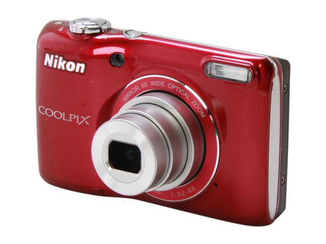Nikon COOLPIX L26 Red 16.1 MP 5X Optical Zoom 26mm Wide Angle Digital Camera