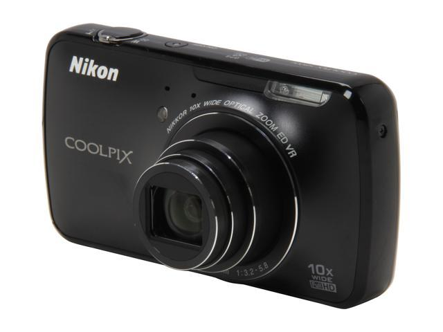 Nikon Coolpix S800c Black 16.0 MP 10X Optical Zoom 25mm Wide Angle Digital Camera HDTV Output