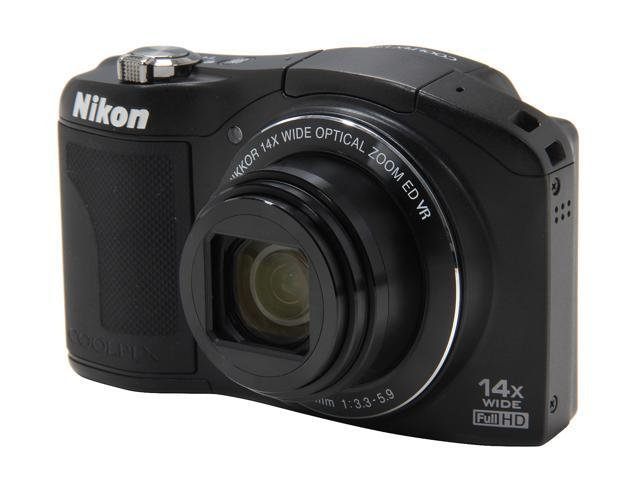 Nikon Coolpix L610 Black 16.0 MP 14X Optical Zoom 25mm Wide Angle Digital Camera HDTV Output