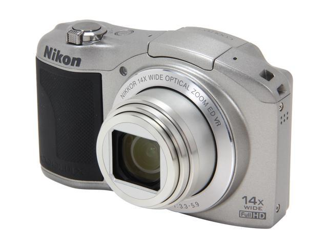 Nikon Coolpix L610 Silver 16.0 MP 14X Optical Zoom 25mm Wide Angle Digital Camera HDTV Output
