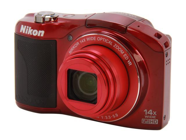 Nikon Coolpix L610 Red 16.0 MP 14X Optical Zoom 25mm Wide Angle Digital Camera HDTV Output
