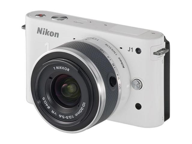 Nikon 1 J1 White Compact Mirrorless System Camera w/ 10-30mm Lens