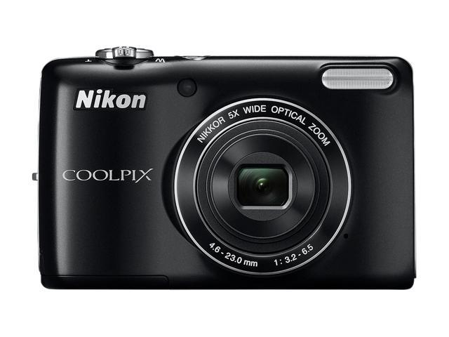 Nikon COOLPIX L26 Black 16.1 MP 5X Optical Zoom 26mm Wide Angle Digital Camera