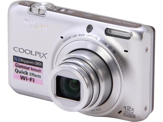 Nikon COOLPIX S6500 Silver 16 MP 12X Optical Zoom Wide Angle Digital Camera HDTV Output