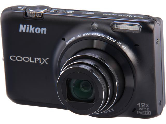 Nikon COOLPIX S6500 Black 16 MP 12X Optical Zoom Wide Angle Digital Camera HDTV Output