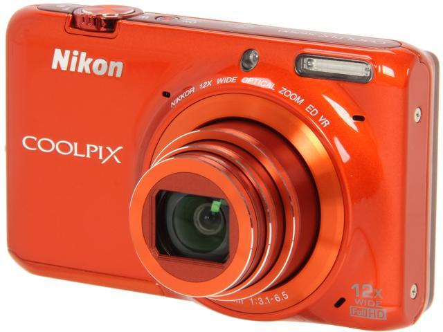 Nikon COOLPIX S6500 Orange 16 MP 12X Optical Zoom Wide Angle Digital Camera HDTV Output