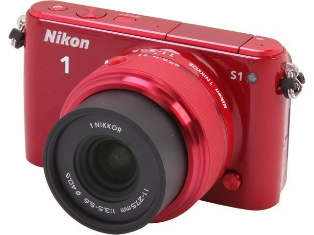 Nikon 1 S1 27619 Red Mirrorless Digital Camera with 11-27.5mm Lens