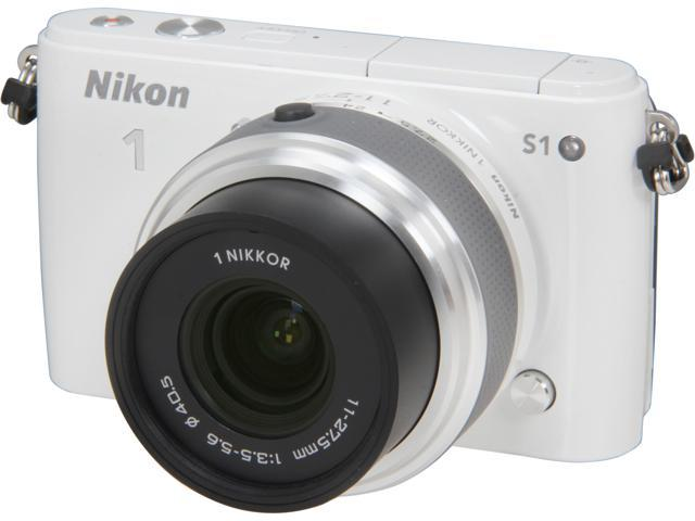 Nikon 1 S1 (27618) White Mirrorless Digital Camera with 11-27.5mm Lens