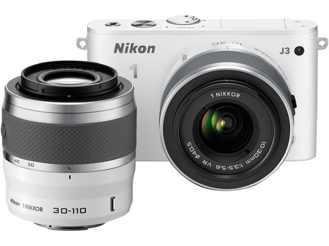 Nikon 1 J3 (27648) White Advanced Camera with 10-30mm & 30-110mm VR Lenses