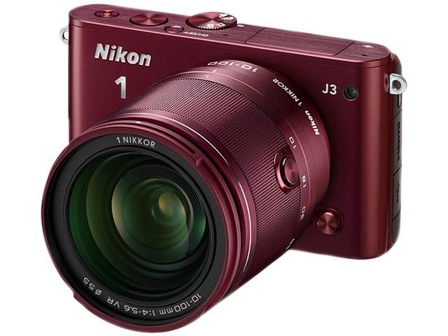 Nikon 1 J3 (27659) Red Advanced Camera with 10-100mm Lens