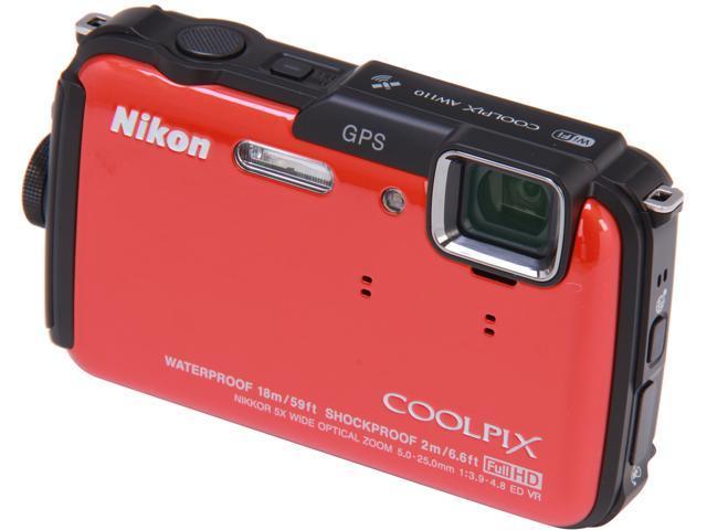 Nikon COOLPIX AW110 Orange 16 MP 5X Optical Zoom Waterproof Shockproof Digital Camera