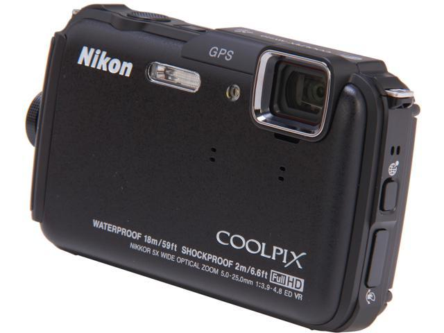 Nikon COOLPIX AW110 Black 16 MP Waterproof Shockproof 28mm Wide Angle Digital Camera
