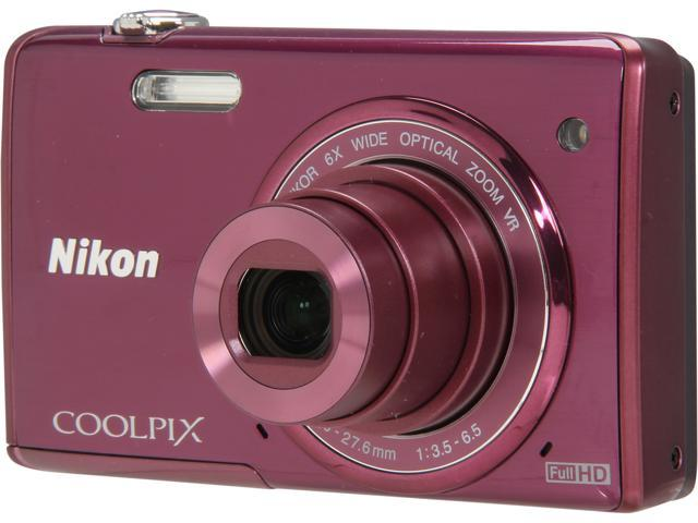 Nikon COOLPIX S5200 Plum 16 MP 6X Optical Zoom Wide Angle Digital Camera