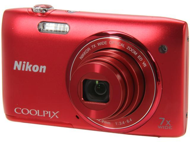 Nikon COOLPIX S3500 Red 20.1 MP 7X Optical Zoom 26mm Wide Angle Digital Camera