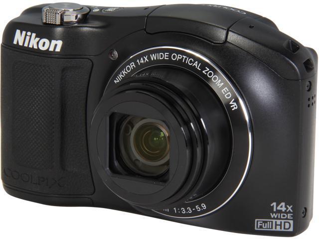 Nikon COOLPIX L620 Black 18.1MP 25mm Wide Angle Digital Camera HDTV Output
