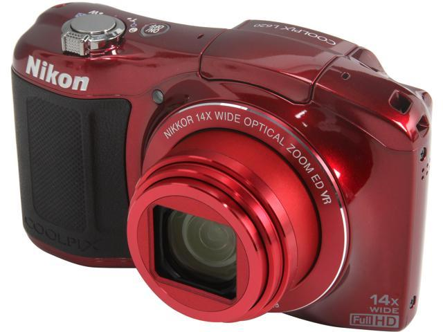 Nikon COOLPIX L620 Red 18.1MP 14X Optical Zoom 25mm Wide Angle Digital Camera HDTV Output