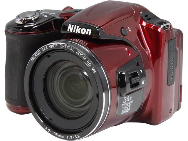 Nikon COOLPIX L830 Red 16 MP 34X Optical Zoom Wide Angle Digital Camera HDTV Output