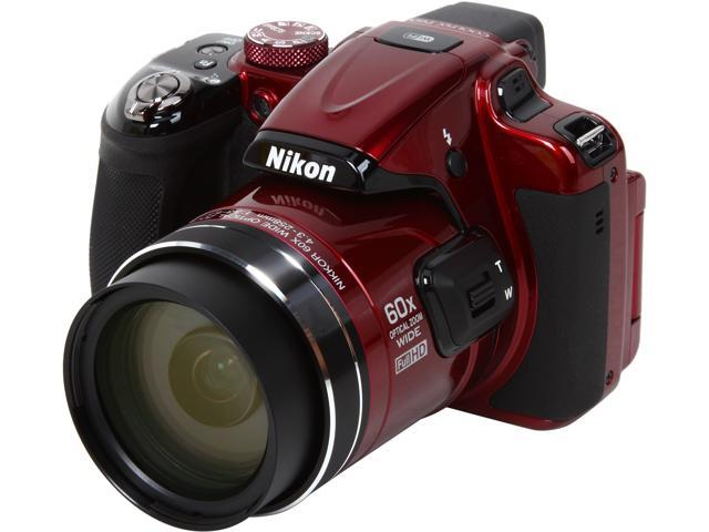 Nikon COOLPIX P600 Red 16.1 MP 60X Optical Zoom 24mm Wide Angle Digital Camera HDTV Output