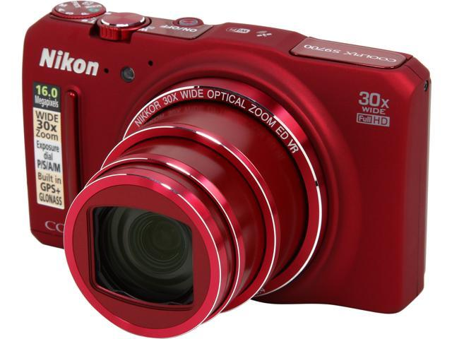 Nikon COOLPIX S9700 Red 16.0 MP 30X Optical Zoom Digital Camera HDTV Output