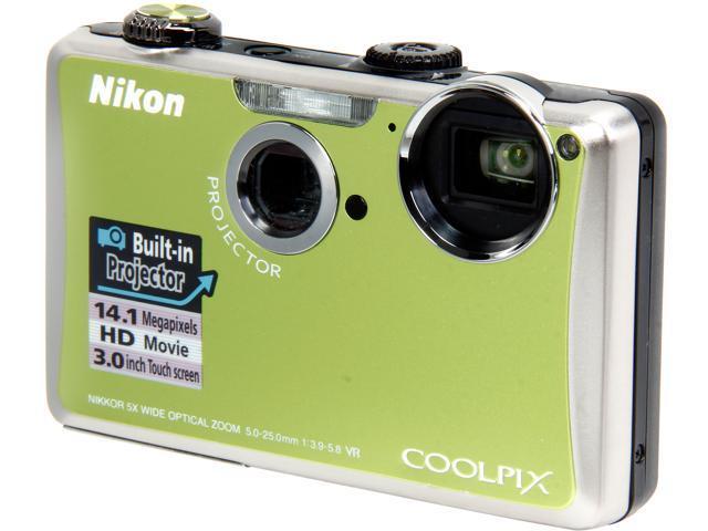 Nikon Coolpix S1100pj 14MP Digital Camera With Built-in Projector (Green)