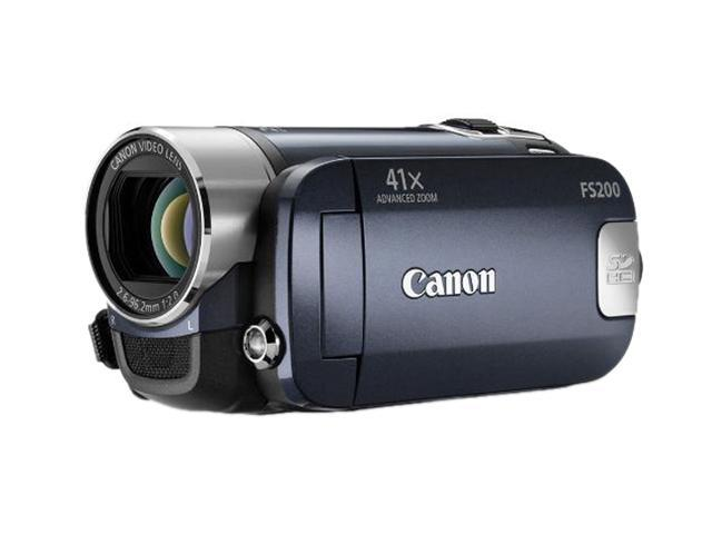 "Canon FS200 Evening Blue 1/6"" CCD 2.7"" 123K 37X Optical Zoom Flash Memory Camcorder"