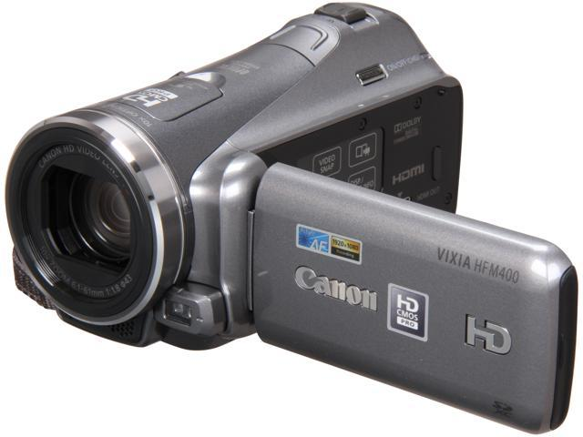"Canon VIXIA HF M400 Silver 1/3"" CMOS 3.0"" 230k Touch LCD 10X Optical Zoom High Definition HDD/Flash Memory Camcorder"