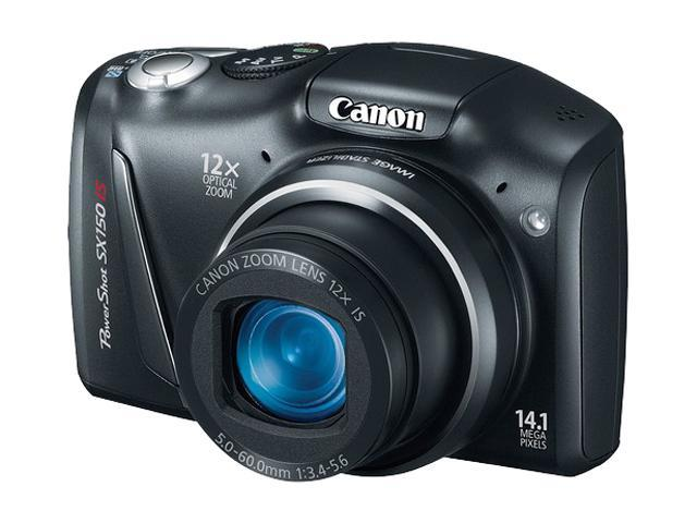 Canon PowerShot SX150 IS Black 14.1 MP 12X Optical Zoom 28mm Wide Angle Digital Camera