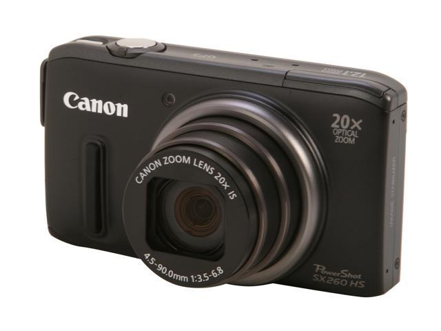 Canon PowerShot SX260 HS Black 12.1 MP 20X Optical Zoom 25mm Wide Angle Digital Camera HDTV Output