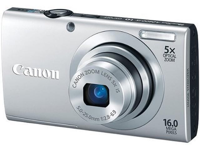 Canon PowerShot A2400 IS Silver 16.0 MP 5X Optical Zoom 28mm Wide Angle Digital Camera