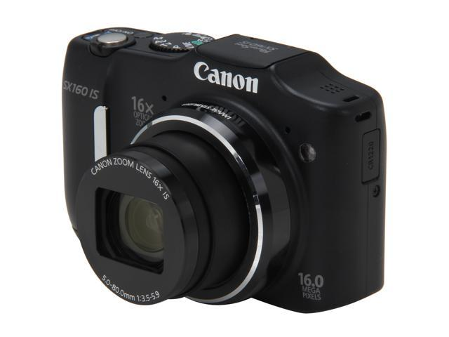 Canon PowerShot SX160 IS Black Approx. 16 MP 16X Optical Zoom 28mm Wide Angle Digital Camera HDTV Output