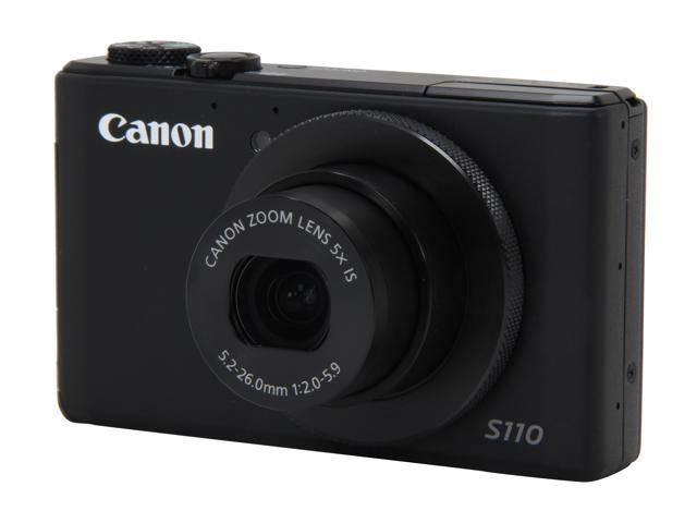 Canon PowerShot S110 6351B001 Black Approx. 12.1 MP 5X Optical Zoom 24mm Wide Angle Digital Camera HDTV Output