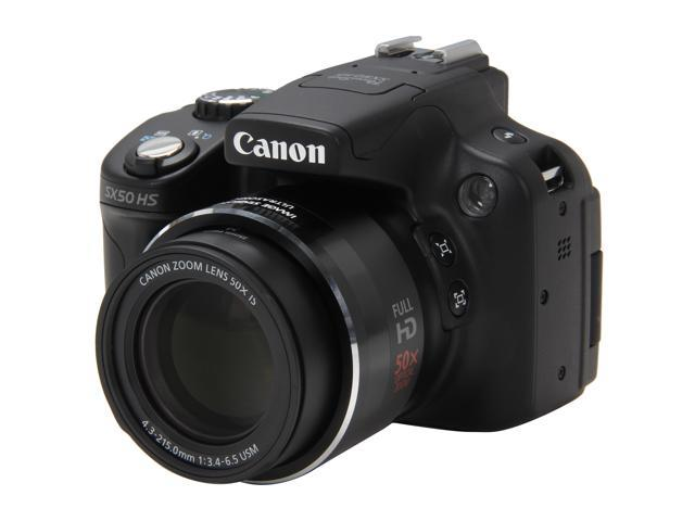 Canon PowerShot SX50 HS Black Approx. 12.1 MP 24mm Wide Angle Digital Camera HDTV Output