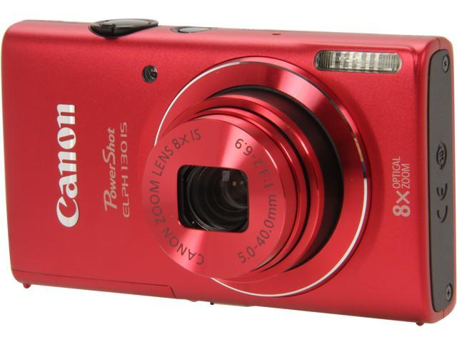 Canon PowerShot ELPH 130 IS Red 16.0 MP 8X Optical Zoom 28mm Wide Angle Digital Camera