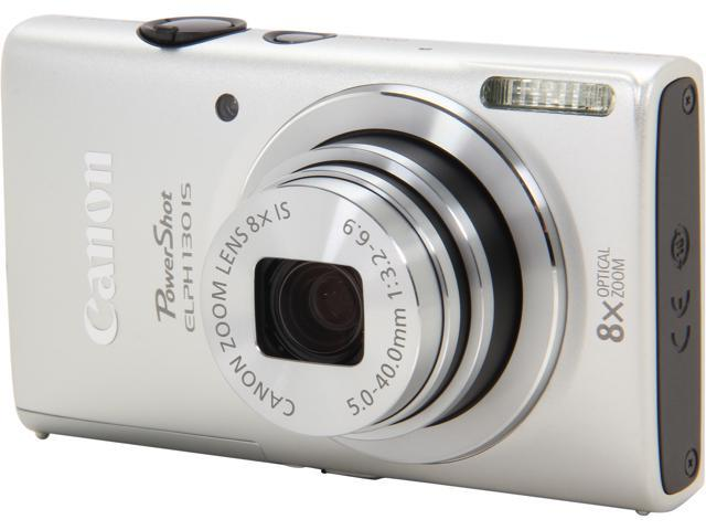 Canon PowerShot ELPH 130 IS Silver 16.0 MP 8X Optical Zoom 28mm Wide Angle Digital Camera