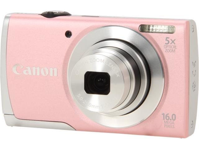 Canon PowerShot A2600 Pink 16.0 MP 5X Optical Zoom 28mm Wide Angle Digital Camera