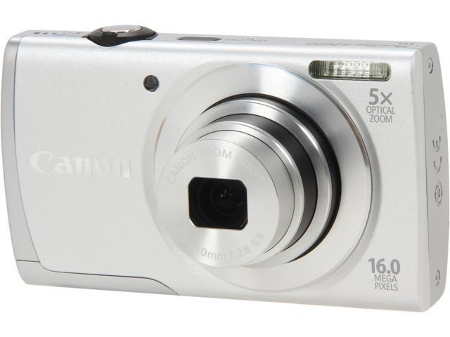 Canon PowerShot A2600 Silver 16.0 MP 5X Optical Zoom 28mm Wide Angle Digital Camera