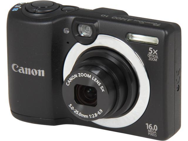 Canon PowerShot A1400 Black 16.0 MP 5X Optical Zoom 28mm Wide Angle Digital Camera