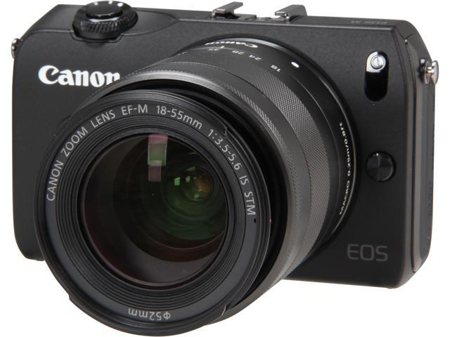 Canon EOS M (6609B074) Black Compact Mirrorless System Camera with EF-M 18-55mm f/3.5-5.6 IS STM Kit