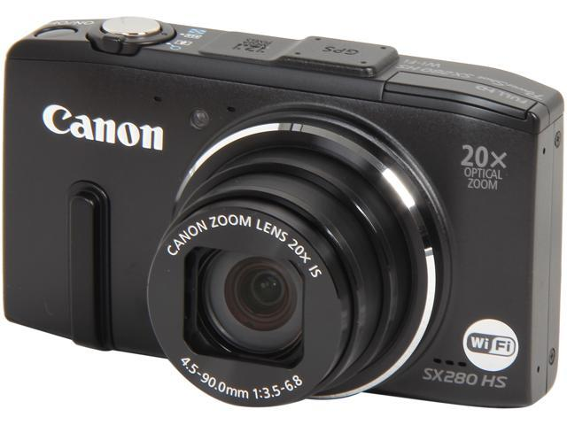 Canon Powershot SX280 HS Black 12.1 MP 25mm Wide Angle Digital Camera HDTV Output