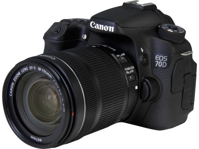 Canon EOS 70D (8469B016) Digital SLR Cameras Black 20.2 MP Digital SLR Camera with 18-135mm STM f/3.5-5.6 Lens