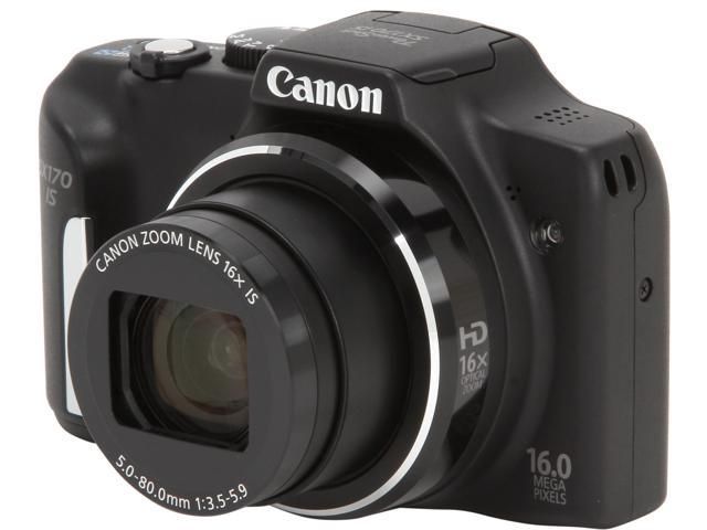 Canon PowerShot SX170 IS 8410B001 Black 16MP 16X Optical Zoom 28mm Wide Angle Digital Camera