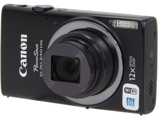 Canon PowerShot ELPH 340 HS Black 16 MP 12X Optical Zoom 25mm Wide Angle Digital Camera HDTV Output
