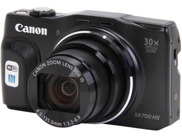 Canon PowerShot SX700 HS Black 16.1 MP 25mm Wide Angle Digital Camera HDTV Output
