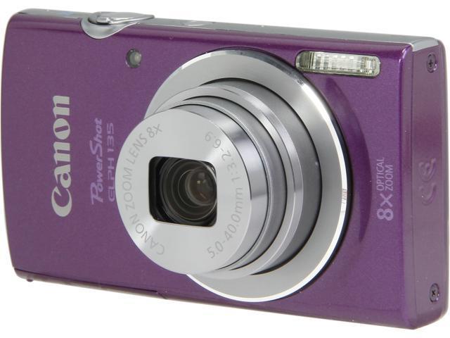 Canon PowerShot ELPH 135 Purple 16 MP 8X Optical Zoom 28mm Wide Angle Digital Camera