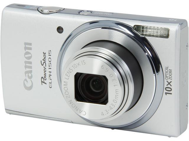 Canon PowerShot ELPH 150 IS Silver 20.0 MP 10X Optical Zoom 24mm Wide Angle Digital Camera