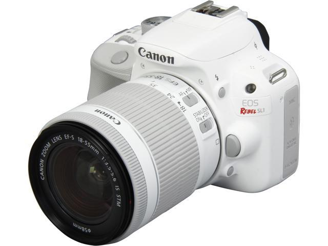 Canon EOS Rebel SL1 9123B002 White 18.0 MP Digital SLR Camera with EF-S 18-55mm f/3.5-5.6 IS STM Lens