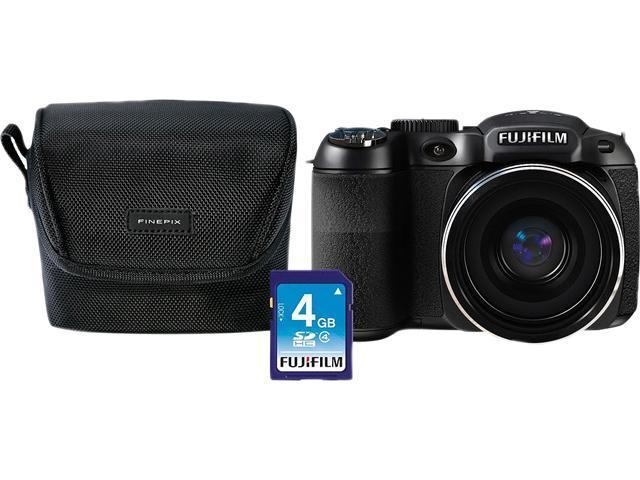 FUJIFILM FinePix S2980 Black 14 MP 18X Optical Zoom Bridge Digital Camera Bundle Includes Fuji Case & 4GB SD HDTV Output