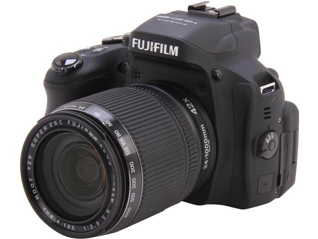 FUJIFILM FinePix HS50EXR Black 16 MP 42X Optical Zoom 24mm Wide Angle Digital Camera HDTV Output